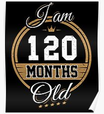 Funny Vintage 10th Birthday I'm 120 Months Old Gift Poster