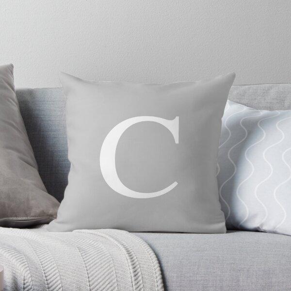 Silver Gray Basic Monogram C Throw Pillow