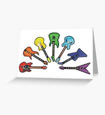 Rainbow of Pixel Guitars Greeting Card