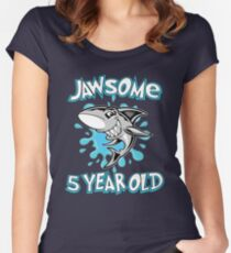 Awesome Shark Jawsome 5th Birthday Funny 5 Yr Old Women's Fitted Scoop T-Shirt