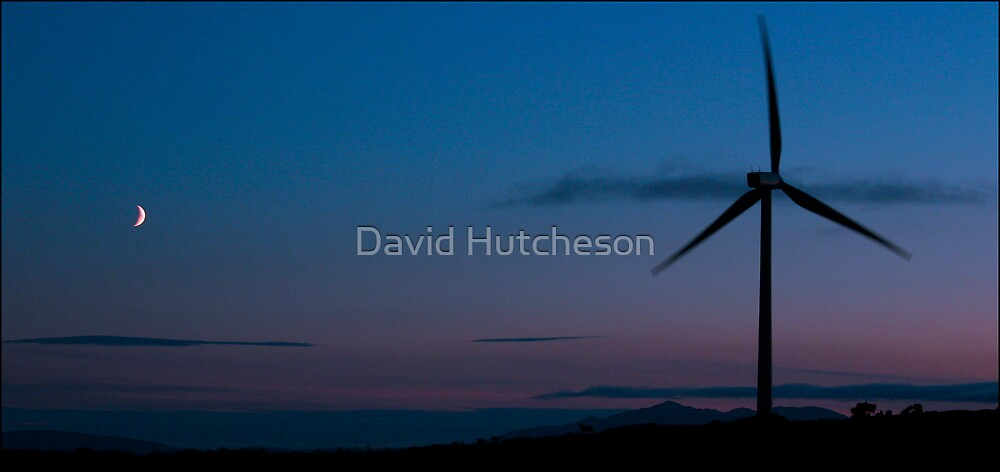 Dusk Moon & windturbine by David Hutcheson