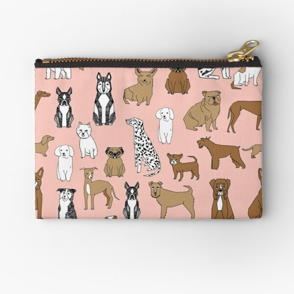 Dogs Dogs Dogs - Pink Background Zipper Pouch
