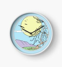 Willow Tree with Sun and Birds Clock
