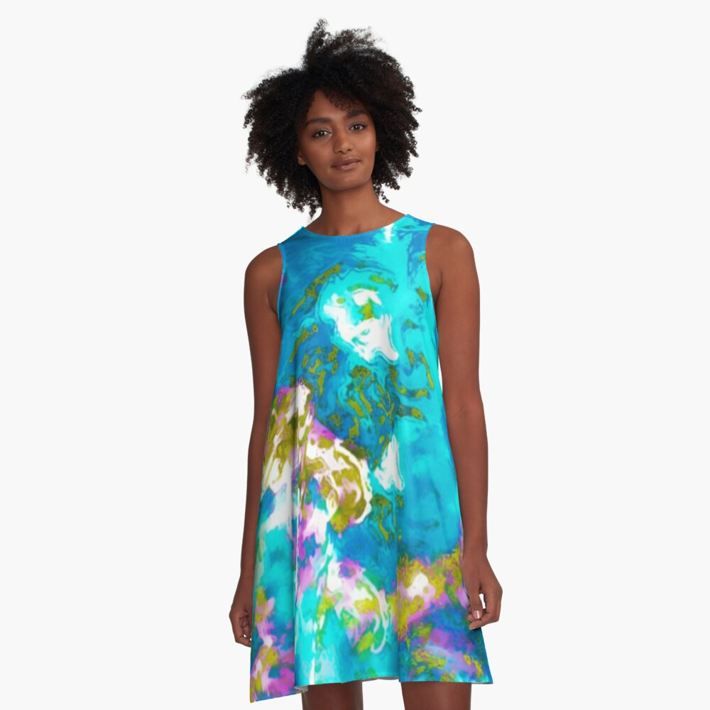 Hibiscus Impressionist Series - Blue A-Line Dress Front