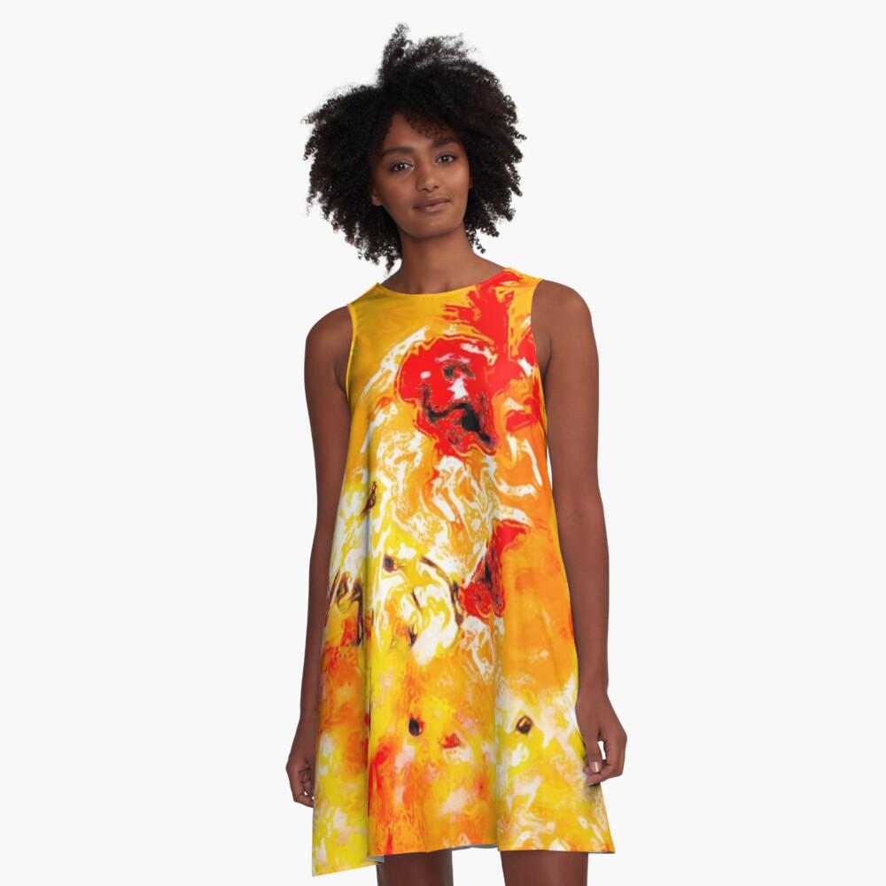 Hibiscus Impressionist Series - Orange A-Line Dress Front