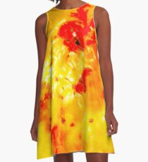Hibiscus Impressionist Series - Orange A-Line Dress