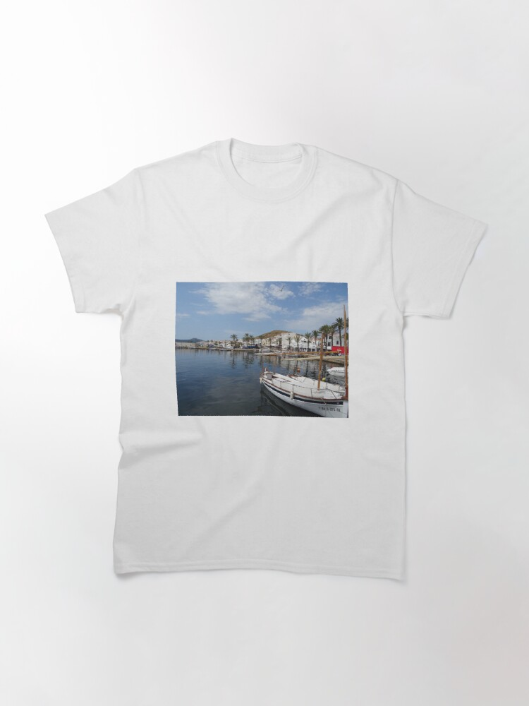 Alternate view of Fishing boat at Fornells, Minorca, Spain Classic T-Shirt