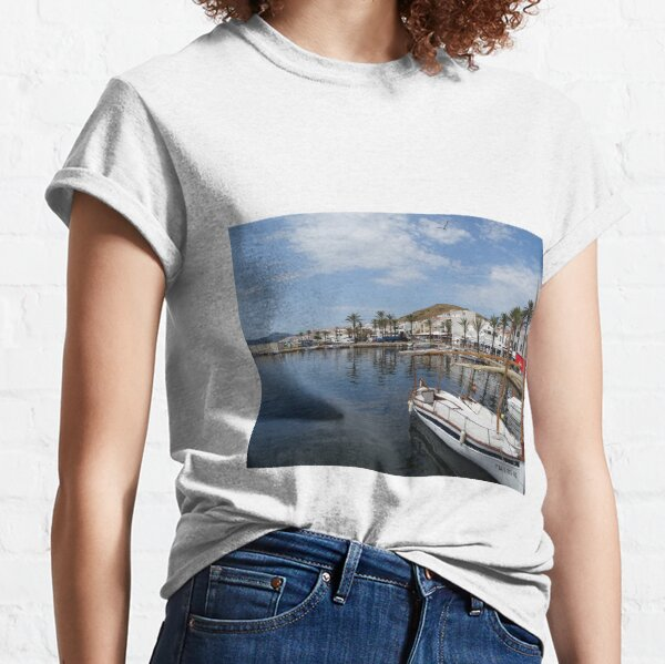 Fishing boat at Fornells, Minorca, Spain Classic T-Shirt