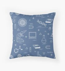Seamless pattern with variety scientific, education elements: globe, microscope,magnet, flask, molecule and other. Throw Pillow