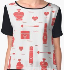 Cute seamless pattern with various accessories for the care of your body and hair: perfume bottles in the shape of a heart, cream, hair spray and other. Chiffon Top