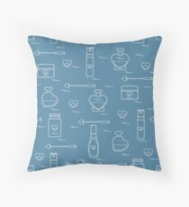 Cute seamless pattern with various accessories for the care of your body and hair: perfume bottles in the shape of a heart, cream, hair spray and other. Throw Pillow