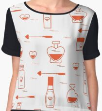 Cute seamless pattern with various accessories for the care of your body and hair: perfume bottles in the shape of a heart, cream, hair spray and other. Women's Chiffon Top