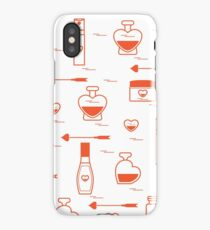 Cute seamless pattern with various accessories for the care of your body and hair: perfume bottles in the shape of a heart, cream, hair spray and other. iPhone Case