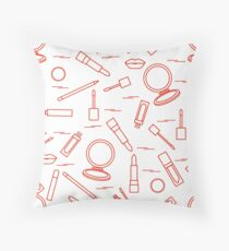 Seamless pattern of different lip make-up tools. Vector illustration of lipsticks, mirror, lip liner, lip gloss and other. Throw Pillow