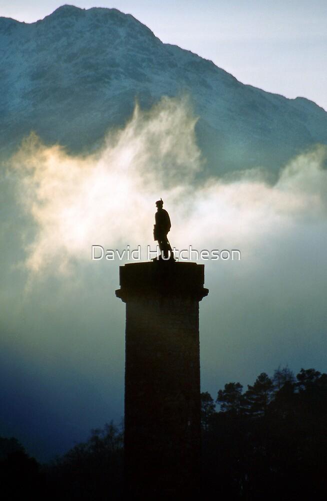 Glenfinnan monument in the mist by David Hutcheson