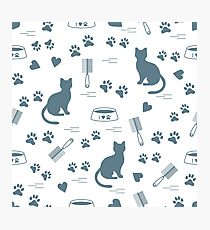 Nice pattern of silhouette sitting cat, traces, hearts, bowl and comb need for cat hair. Photographic Print