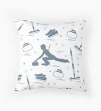 Vector pattern of different objects curling sport.  Throw Pillow