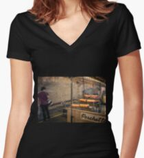 Vic Night Markets Women's Fitted V-Neck T-Shirt