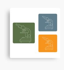 Stylized vector icons of microscope in different colors. Laboratory equipment symbol.  Canvas Print