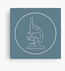 Stylized vector icon of microscope. Laboratory equipment symbol.  Canvas Print