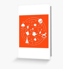 Vector illustration kids elements arranged in a circle: whirligig, ball, puzzle, rocking horse,  bucket, pyramid and other. Greeting Card