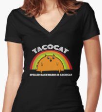 Funny Graphic Taco and Cat Lovers Women's Fitted V-Neck T-Shirt