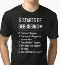 Six 6 Stages of Debugging Funny shirt for programmer, developer, coder Tri-blend T-Shirt