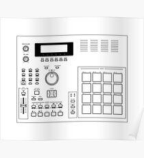 AKAI MPC 2000 Blueprint transparent Poster