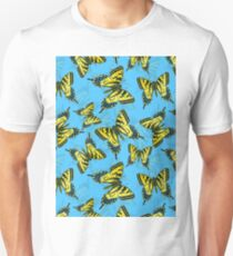 Tiger swallowtail butterfly watercolor pattern blue T-Shirt