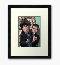 Sherlock Holmes Watson and Moriarty at 221B Framed Print