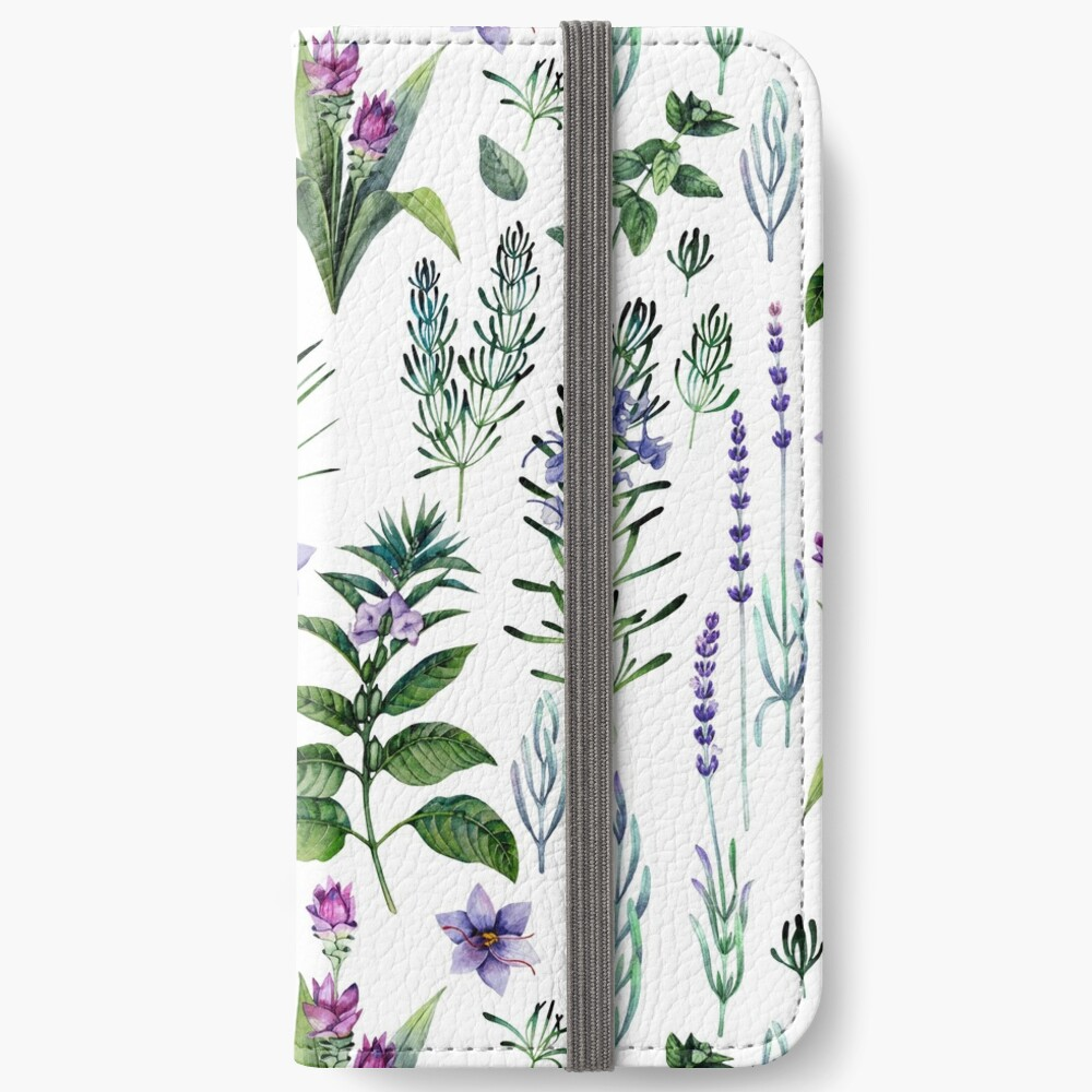 Watercolor botanical collection of herbs and spices iPhone Wallet