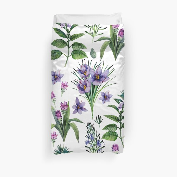 Watercolor botanical collection of herbs and spices Duvet Cover