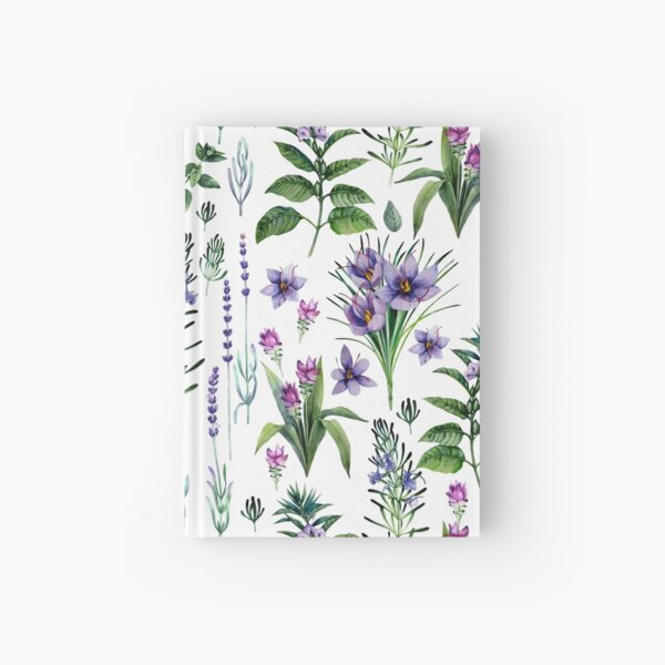 Watercolor botanical collection of herbs and spices Hardcover Journal