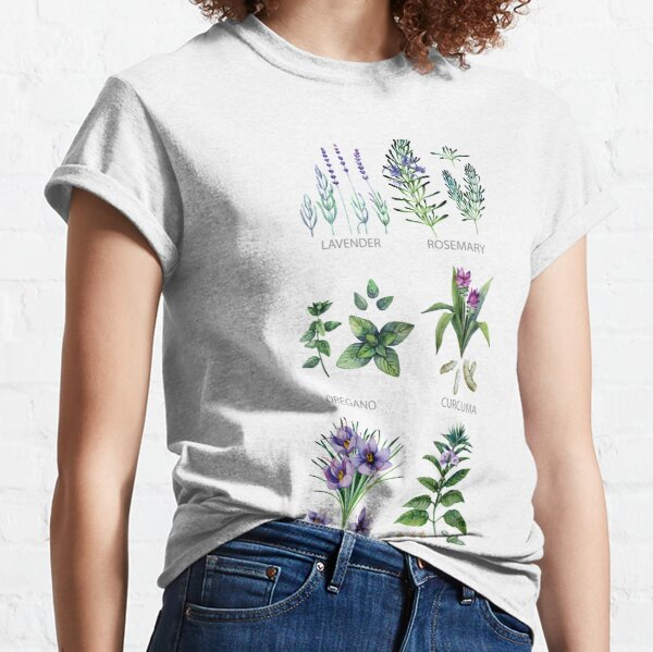 Watercolor botanical collection of herbs and spices Classic T-Shirt