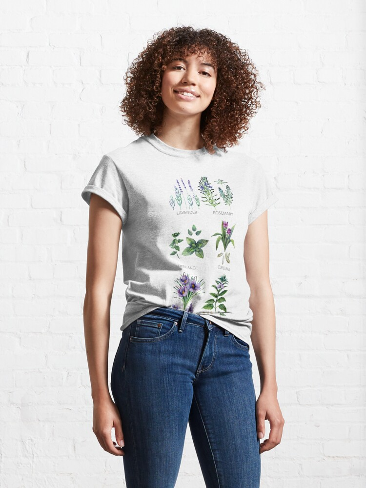 Alternate view of Watercolor botanical collection of herbs and spices Classic T-Shirt