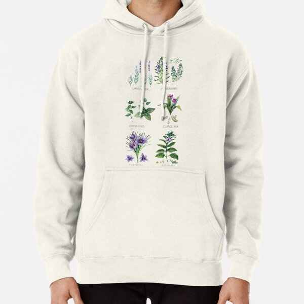 Watercolor botanical collection of herbs and spices Pullover Hoodie