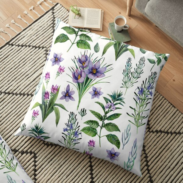 Watercolor botanical collection of herbs and spices Floor Pillow