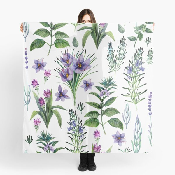 Watercolor botanical collection of herbs and spices Scarf