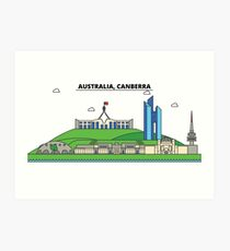 Australia, Canberra City Skyline Design Art Print