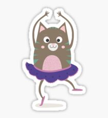 Cat Ballerina Dancing Rfnq7 Sticker