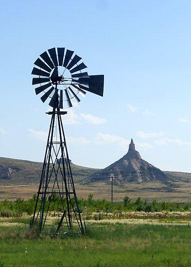 Nebraska Windmill with Chimney Rock by Patrick Czaplewski
