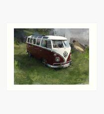 red-white VW Bulli  - T1 Art Print