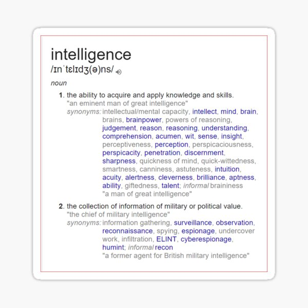 What intelligence means ? Sticker