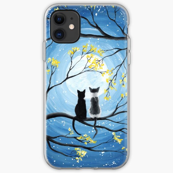 Cats Full Moon  iPhone Soft Case