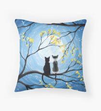 Cats Full Moon  Throw Pillow