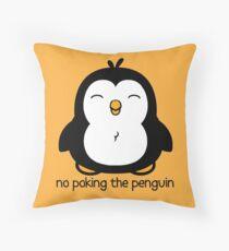 No Poking The Penguin Cartoon Throw Pillow