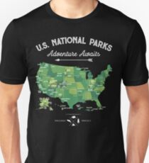 National Park Map Vintage T Shirt - All 59 National Parks Unisex T-Shirt