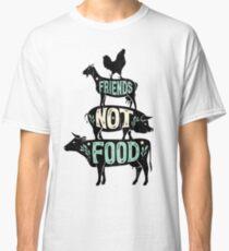 Friends Not Food - Vegan Vegetarian Animal Lovers T-Shirt - Vintage Distressed Classic T-Shirt