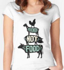 Friends Not Food - Vegan Vegetarian Animal Lovers T-Shirt - Vintage Distressed Women's Fitted Scoop T-Shirt