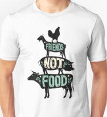 Friends Not Food - Vegan Vegetarian Animal Lovers T-Shirt - Vintage Distressed T-Shirt